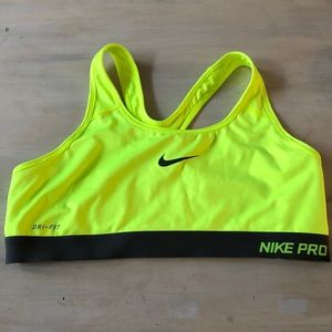 Nike pro dri fit neon yellow and gray sports bra